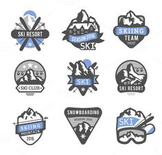 Ski resort logo emblems vector by Vectorstockersland on Vintage Logos, Snowboarding Resorts, Logo Sport, Beach Logo, Ski Club, Resort Logo, Badge Design, Design Design, Travel Logo