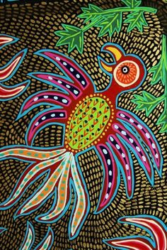 Artist Signed Unique Intricate Detail Handpainted Wood Huichol Serving Tray DWT2 $245.37