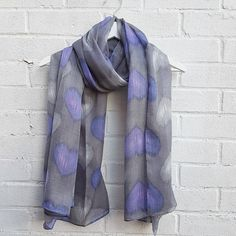 Lightweight soft grey coloured scarf covered in grey and purple hearts. Large enough to wear as a wrap, sarong or snood. Grey Scarf, Plaid Scarf, Purple Scarves, Presents For Friends, Deep Purple, Print Patterns, Feminine, How To Wear, Hearts