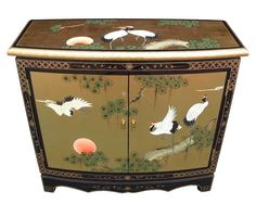 Oriental/Chinese Furniture, Gold Leaf Hall Cabinet with Cranes