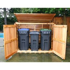 outdoor garbage can storage garbage can shed outdoor living today oscar trash can storage shed . Garbage Can Shed, Garbage Can Storage, Garage Velo, Bin Shed, Outdoor Trash Cans, Garbage Containers, Shed Kits, Deck Box, Trash Bins