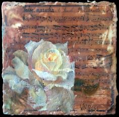Encaustic collage painting of a blooming white rose over sheet music