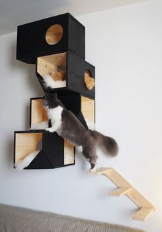 Wooden Modular Cat House - Robin Russell - Wooden Modular Cat House We make this product on order. Production takes about 3 days. This ladder can be assembled in two ways: to give your cat possibility to get into the house from the left or right side. Diy Cat Tree, Cat Towers, Cat Shelves, Cat Stands, Cat Playground, Cat Room, Pet Furniture, Cat Wall, Cat Accessories