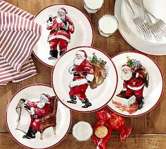 """Painted Santa Dinnerware #potterybarn Our jolly Santa dishes bring good cheer to your family and guests and pair well with other holiday serving pieces. Layer Plate: 8.75"""" diameter Dinner Plate: 10.75"""" diameter Mug: 3.5"""" diameter, 4.5"""" high; 14 fluid ounces Made of stoneware. Microwave- and dishwasher-safe."""