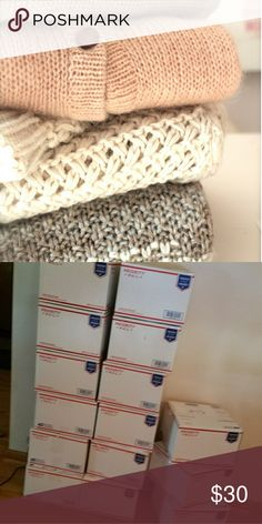 Sweater Weather Mystery Box A box filled with 5 beautiful sweaters perfect in time for fall and winter ! Brands range from J Crew, Ann Taylor, Free People, Forever 21, Gap, Anthro, Derek Heart, Old Navy, and many many more brands. All sweaters are in great condition and some ever have tags still attached. The style I mostly have is cardigans, oversized, and chunky knit. How it works ? You select a size and in a few days a box of beautiful sweaters is waiting for you on your doorstep. ***no…