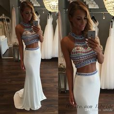 2016 Sexy Two Pieces Dresses Evening Gown Prom Long Chiffon High Neck Beaded Sequins Sweep Train Backless Party Sparkly Mermaid Prom Dresses Unique Vintage Prom Dresses Vintage Prom Dresses Uk From Iubride, $174.61  Dhgate.Com