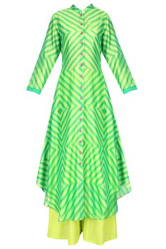 Yellow and green geometric print asymmetric kurta with palazzo pants available only at Pernia's Pop Up Shop. Indian Party Wear, Indian Wear, Indian Dresses, Indian Outfits, Simple Dresses, Casual Dresses, Designer Anarkali Dresses, Designer Dresses, Kurta Designs
