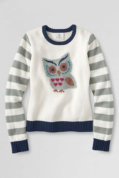 Girls' Long Sleeve Crewneck Sweater from Lands' End