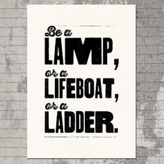 Silkscreen #Typography Poster Print - Be A Lamp