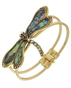 "Antique Gold Green Abalone Shell Dragonfly Bracelet C$26.00 Antique Gold Tone / Green Abalone Shell /Dragonfly Bracelet • DIAMETER : 1 1/2"" • TOP FACE : 2 1/2"" X 1 1/4""http://www.dressyourlashes.com/store/#!/Antique-Gold-Green-Abalone-Shell-Dragonfly-Bracelet/p/64772239"