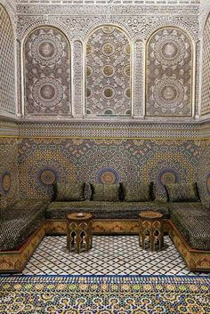 In a Moroccan riad, you can actuallly stay in a room like this (But it's out of my price range) Moroccan Design, Moroccan Decor, Moroccan Style, Moroccan Bedroom, Moroccan Lanterns, Islamic Architecture, Art And Architecture, Morrocan Architecture, Islamic Art