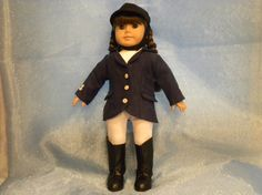 "Navy and White Equestrian Outfit with Riding Cap and Boots designed to fit 18"" dolls, such as American Girl"