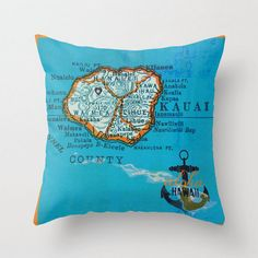 Kauai Island Map Throw Pillow Hawaii Nautical by BrandiFitzgerald
