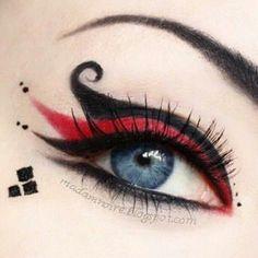 Harley Quinn inspired joker eye makeup 2014 Halloween, clown via Polyvore featuring beauty products, makeup, eye makeup and zipper makeup