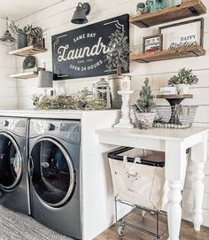 Who says that having a small laundry room is a bad thing? These smart small laundry room design ideas will prove them wrong. Rustic Laundry Rooms, Laundry Room Shelves, Laundry Room Remodel, Laundry Room Cabinets, Small Laundry Rooms, Laundry Room Organization, Laundry Room Design, Diy Cabinets, Organization Ideas