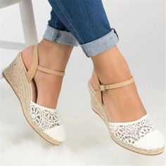 Lace High Heeled Lace Ankle Strap Round Toe Date Wedge Sandals Platform Wedge Sandals, Wedge Heels, Summer Wedge Sandals, Heeled Sandals, Leather Sandals, Women's Shoes, Lace Shoes, Shoes Sneakers, Lace High Heels