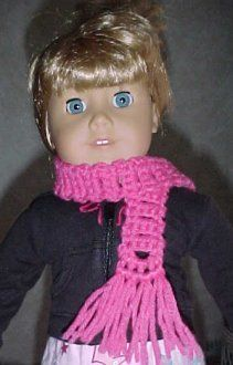 This cute and easy American Girl crochet scarf is great for any doll to bundle up for the cold weather. Crochet an easy scarf pattern for free doll accessories.
