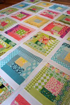 Beautiful color Scrappy Sherbet Log Cabin by Cut To Pieces. My kind of 'wonky' quilt: straight lines