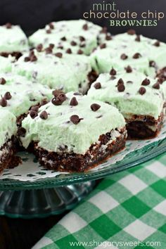 Rich and thick, these fudgy brownies are topped with a sweet mint chocolate chip buttercream frosting! Behold, the Mint Chocolate Chip Brownies recipe of your dreams!