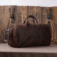 Men's Leather Holdall Duffel Weekender Travel Bag Leather Overnight Bag 12027 - ROCKCOWLEATHERSTUDIO