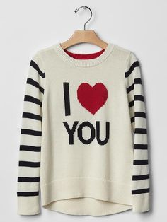 GAP Girl Cotton Sweater Long Sleeve Intarsia Heart Love Ivory Red Cotton 10 L #GapKids #Pullover #DressyEveryday