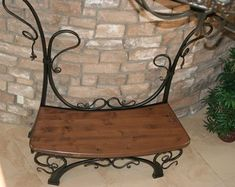 Custom Made Wrought Iron and Wood Entry Bench