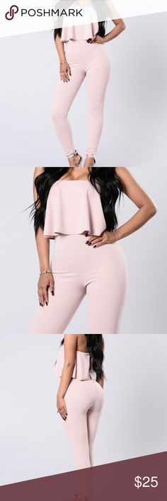"""Fashion Nova - Rose Halter Jumpsuit (SM) Brand new w/ tag  Pink is a bit darker in person Halter top w/ zipper in the back  Does not have much stretch at all, so it's more of an xs-sm so if you're a size 4/5 or 26/27 and below it would be perfect for you.   Does not fit so I can't provide pictures with them on, but any other photos I would be happy to provide.   (For reference I am a size 6/28"""" and 5'6"""" tall 130 pounds and it doesn't fit one bit.. I am usually a small in everything from…"""