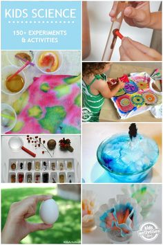 150 Kids Science Activities simple enough to do at home! So many great ways to play with science experiments for kids.