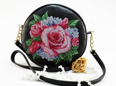 Leather bag and embroidery  Large Teal Purse Embroidered by FediyS