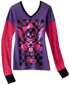 Abbey Dawn long sleeve skull and guitars pink and purple shirt