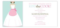 Kiss the Brunette Cook Invitation : Kitchen & Recipe Shower Invitations  #Bridal