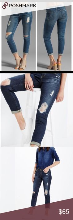 """🔸AG Cigarette Stilt Roll Up ✨AG Cigarette Stilt Roll Up Jeans. Size 27R. Item Details:  •Threadbare holes & raw, rolled hems, update classic cigarette jeans in a faded deep-blue wash. Crafted from cotton denim with power stretch for excellent shape retention and a comfortable fit.  Worn a handful of times.   ✂️Waist: 15"""" / Inseam: 25""""  🚭Smoke Free Home AG Adriano Goldschmied Jeans Ankle & Cropped"""