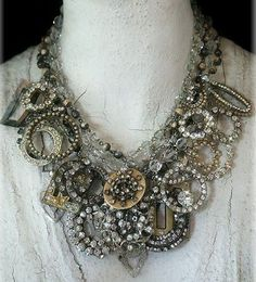 Necklace of old rhinestone brooches