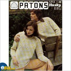 9639629f629cf Gents   mens sweater knitting pattern for chunky yarn Patons patterns  1213  on eBid United