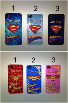 I am her Superman, I am his Wonder Woman Superman and Wonder Woman Custom Made  Couple's Phone Cases by NonisCrafts