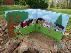Forest quiet book, forest animal finger puppets, felt animals, felt chipmunk…