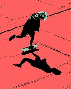 Study of simplification of shapes, lights, lines and contrast between opposite colors. Skateboard Design, Skateboard Art, Art Anime, Manga Art, Art And Illustration, Aesthetic Art, Aesthetic Anime, Draw Character, Art Grunge