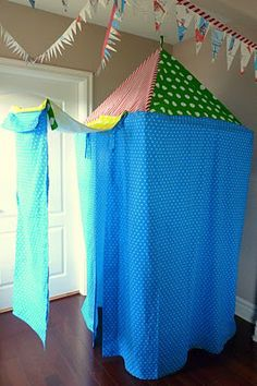 I want to make one of these DIY child's play tents to hang from the tree in the backyard!  I would like make mine wider and shorter!