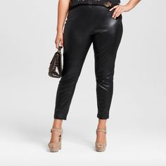 0916abb0d3bec Women s Plus Size Skinny Crop Faux Leather Pants - Who What Wear Black 22W