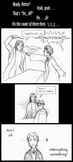 Harry Potter Comic Scene from Book 5, Ch. 28 Harry sees Snape's memories (click for entire comic)