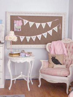 Burlap message board. I love the chair too!