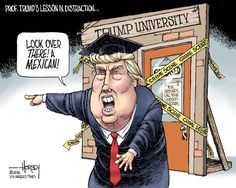 Editorial cartoon on Donald Trump and Trump University Caricatures, Satirical Illustrations, American Freedom, Funny Picture Quotes, Political Cartoons, Political News, Funny Cartoons, Just In Case