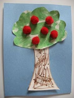 "Pom pom apple tree from ""No time for Flash Cards"" Fall Preschool, Preschool Projects, Daycare Crafts, Preschool Apples, Preschool Themes, Daycare Ideas, Art Projects, Apple Activities, Autumn Activities"