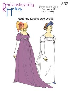 Regency Morning Dress | 19th century dress pattern | Regency Pattern -- need to check out