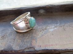 Small Peruvian opal stone set on wide sterling silver by PeruNz,