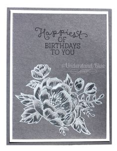 handmade card by Understand Blue: Big Magic ... shades of gray ... Birthday Bloom ... luv the technique used for the focal point flowers ... Stampin' Up!