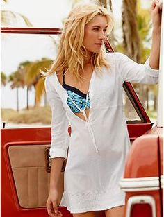 Kimssa Tunic | The ultimate stretch voile beach tunic with a flattering empire waistline. Throw on over a swimsuit for the perfect spring break or summer vacation cover up.
