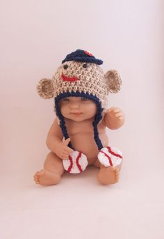 Sock Monkey Hat with Baseball Theme  Newborn  3 by KreativeKroshay, $29.50