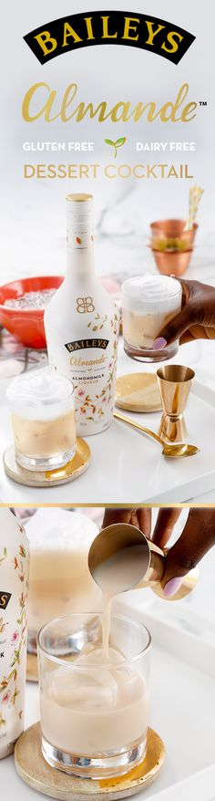 Serve your dessert on the rocks—with new Baileys Almande. Whether it's date night or girls night, this simple almondmilk liqueur is the perfect after-dinner treat - and it's dairy free, gluten free, and vegan. For our light-tasting Vanilla Bean Cocktail, simply pour 2 oz Baileys Almande, .5 oz Vanilla Bean Simple Syrup over crushed ice and top with whipped cream.