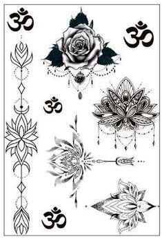 Om Aum Floral Rose Flower Unalome Lotus Temporary Sternum Tattoo Set at MyBodiArt.com